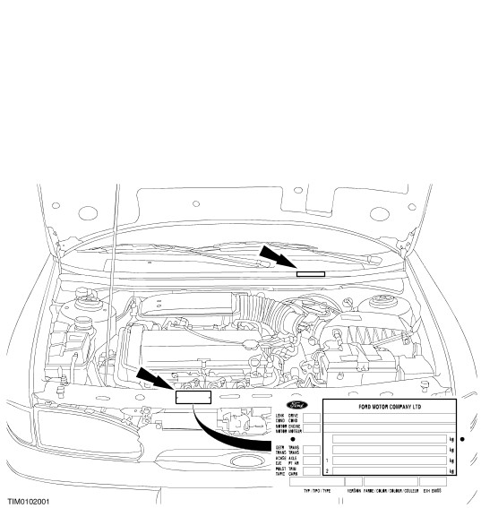 ford mondeo vin vehicle identification number locations